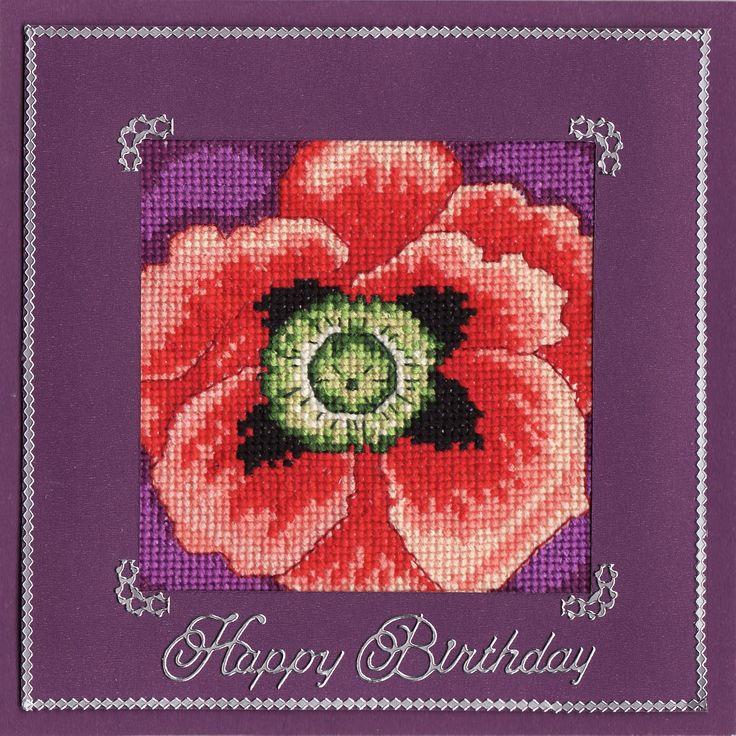 Cross-stitched poppy (by Tassie Scrapangel)
