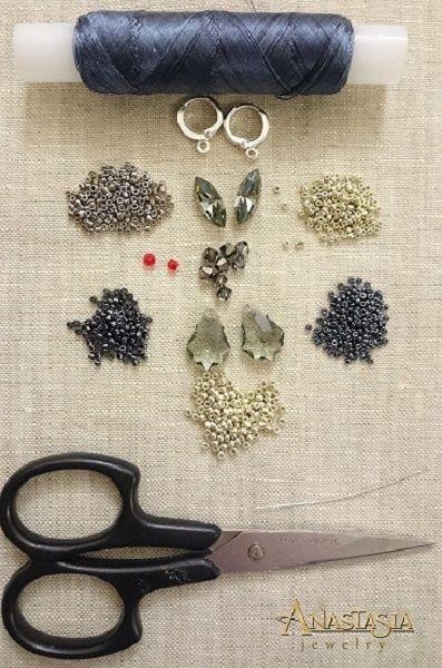 Мастер-классы: Создаем плетеные серьги Black Diamond с кристаллами Swarovski Navett