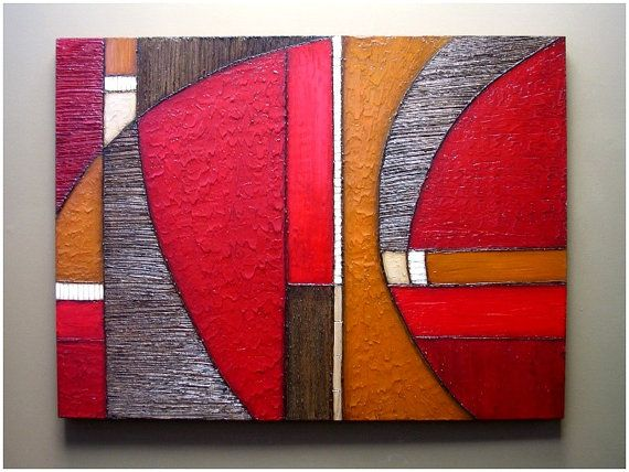 Abstract painting MODERN TEXTURES ART wall sculpture 36x48 acrylic red orange earth tones mixed media wall hanging