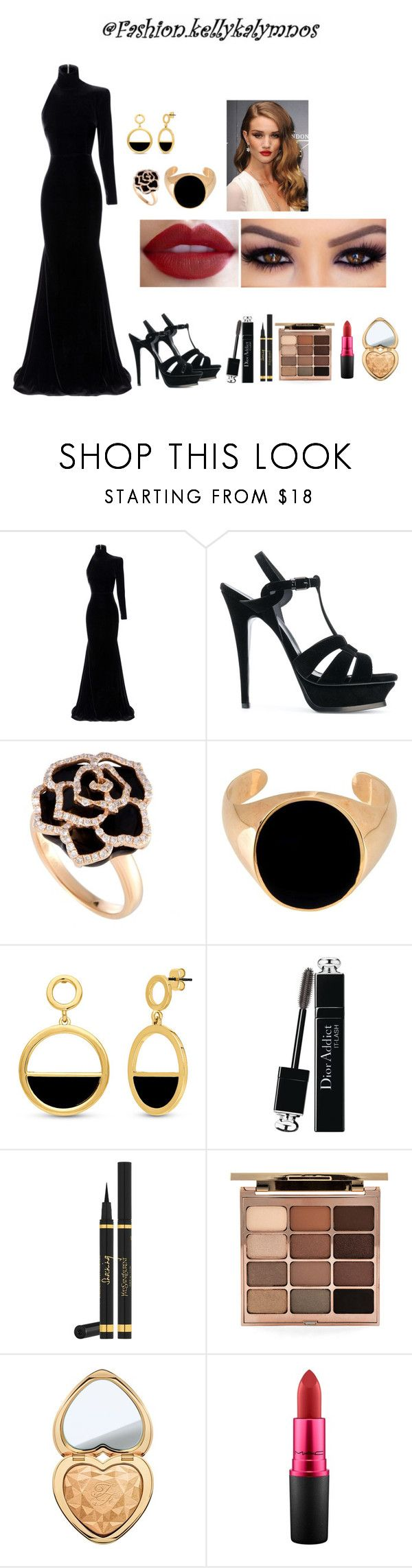 """Glam fashion with Velvet dress"" by kellykalymnoskd on Polyvore featuring Alex Perry, Yves Saint Laurent, Maison Margiela, BERRICLE, Christian Dior, Stila, Too Faced Cosmetics and MAC Cosmetics"