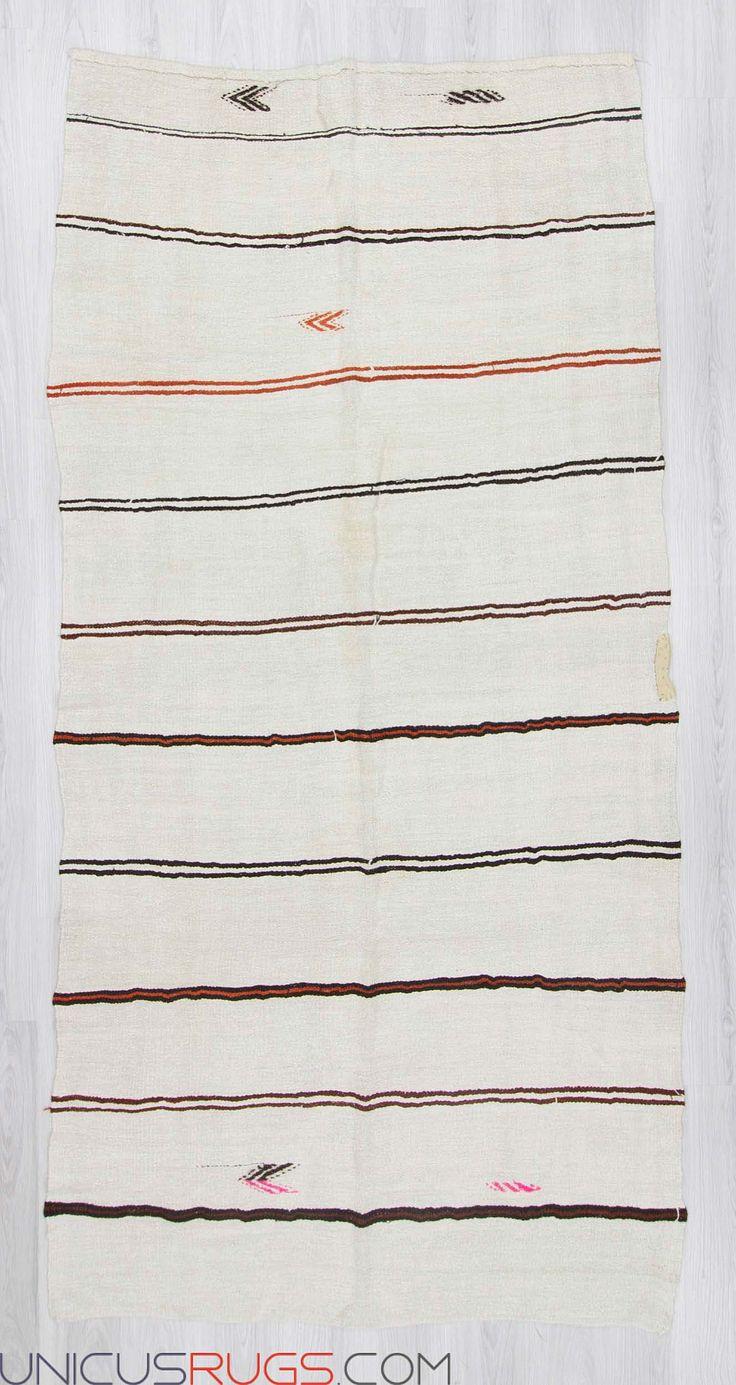 "Vintage striped hemp kilim rug from Yozgat region of Turkey.In good condition.Approximately 50-60 years old Width: 4' 10"" - Length: 9' 10"" Hemp Kilims"