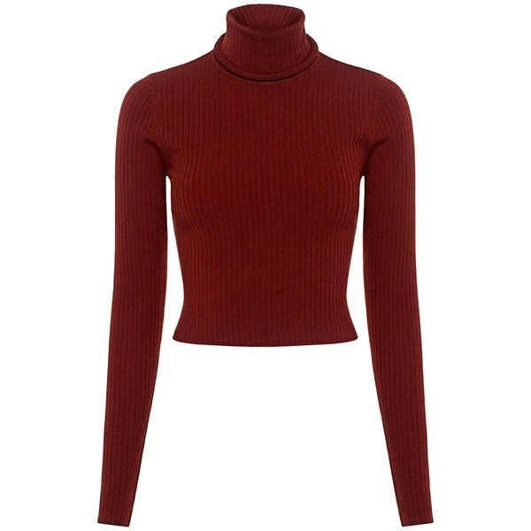 A.l.c. - Elisa Turtleneck Cropped Sweater found on Polyvore featuring tops, sweaters, shirts, ribbed turtleneck sweaters, red sweater, shirt sweater, crop shirt and turtleneck shirt