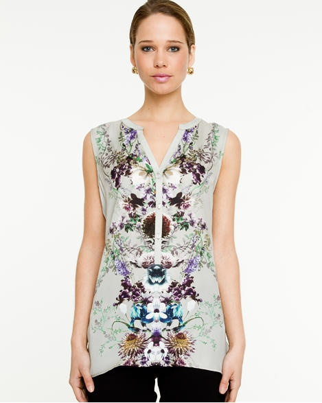 Le Château: Placement Floral Print Blouse, $69.95. Made in Canada.