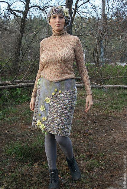"""Юбки ручной работы. Ярмарка Мастеров - ручная работа. Купить Юбка """"Зеленые капли абсента"""". Handmade. Нуновойлок, юбка"""