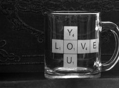 Love You Etched Glass Scrabble Mug