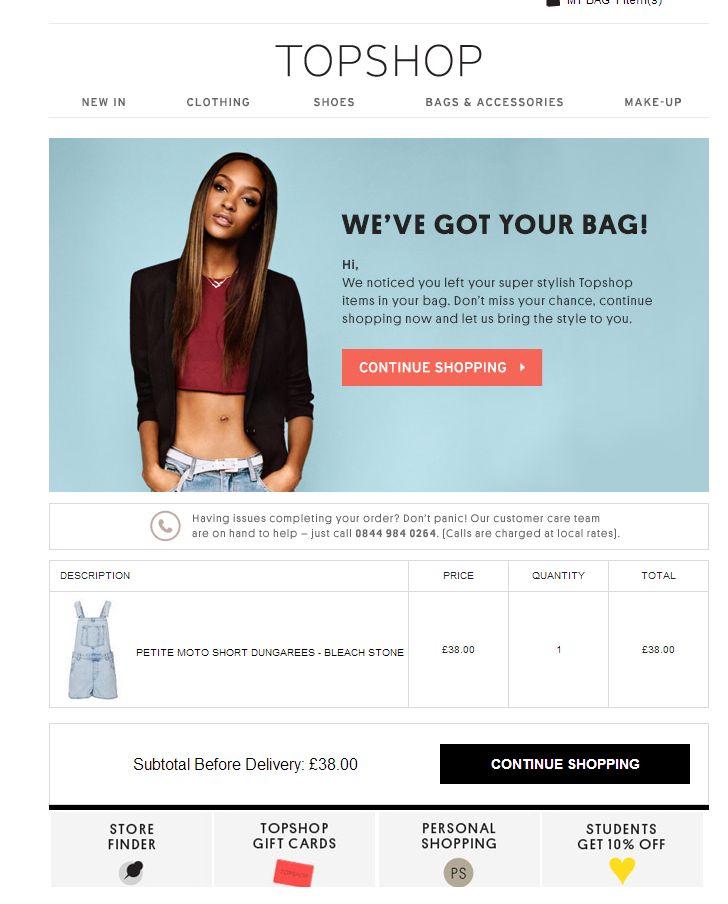 Topshop - Basket abandonment email #emailmarketing #newsletters