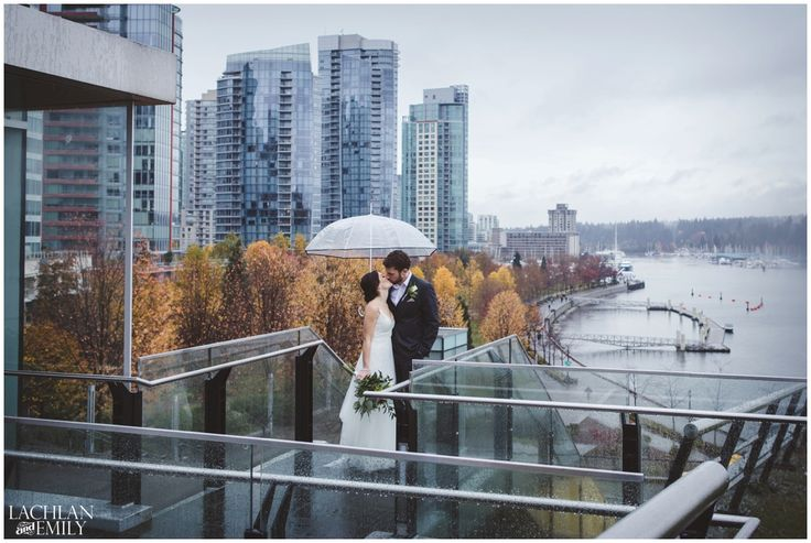 A stunning view of Coal Harbour during Chris and Amber's wedding photography session