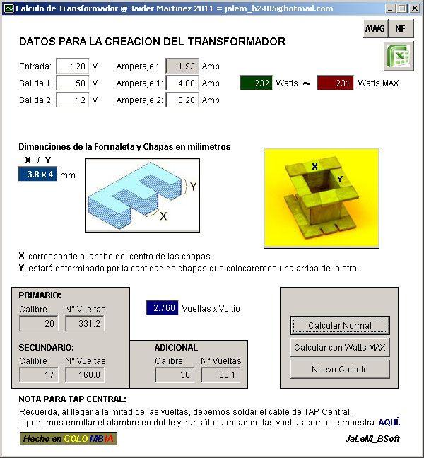 свободное программное обеспечение для расчета трансформаторов Transformadores Rockola Software