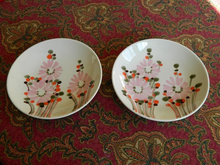 2 FABULOUS Hand Painted SIC Italy Mid Century Mod Pink & Orange Daisy Soup Bowls