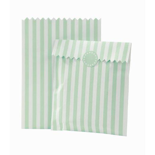 Papiertüten gestreift Weiß/Minzgrün