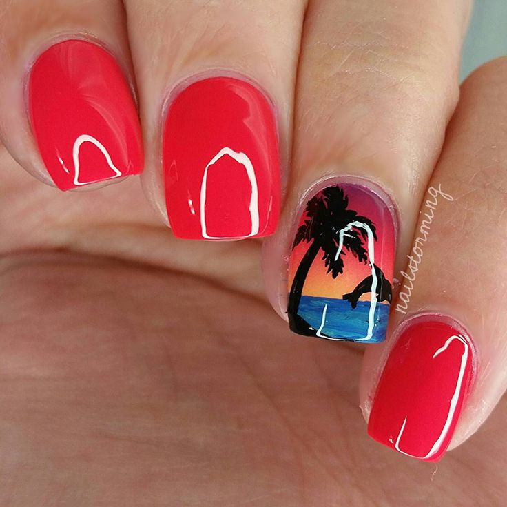 """tutorial was already posted! - - Products used: Purple: """"Lost My Bikini In Molokini"""" OPI Red/pink: """"Sunset Sneaks"""" Essie  Orange: """"Where Did Suzis Man-go"""" OPI  Yellow: """"I Just Can't Cope-acabana"""" OPI  Details : acrylic paint Top coat : HK girl @glistenandglow1"""