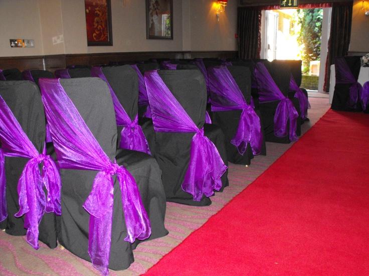 Black Chair Covers with Cadburys Purpple Organza Shawls