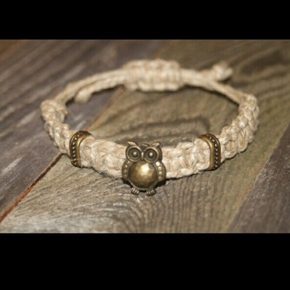 """Tan Bracelet With Metal """"Owl"""" Slider ~ Handmade Adorable metal owl on knotted hemp cord. Created By Gina Jewelry Bracelets"""