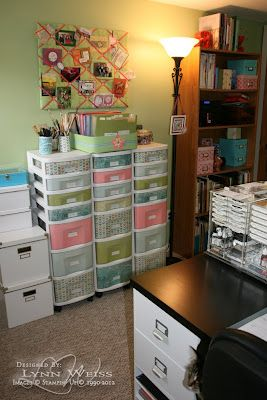 What a clever idea to transform plastic drawer fronts with patterned paper.