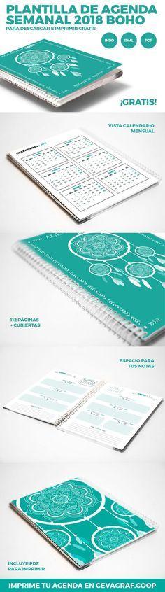 Plantilla de agenda semanal 2018 boho para InDesign (.idml y .indd) de 116 páginas en formato DIN A5 (14,8 x 21) y en español listo para imprimir.