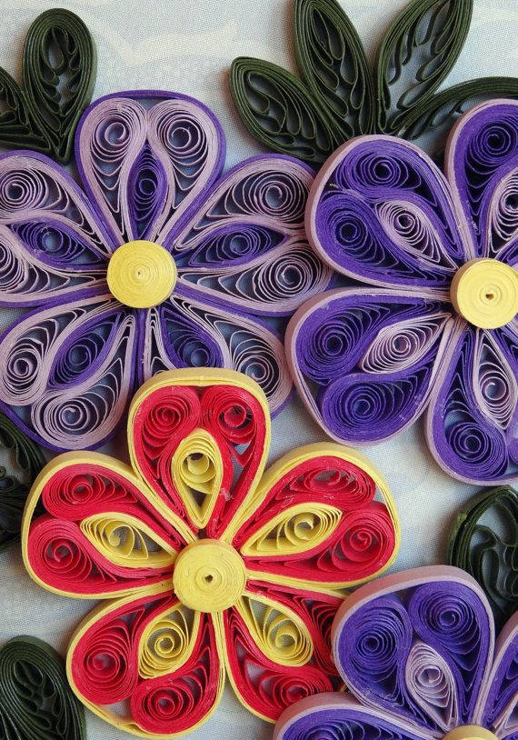 Part 2 of 2---Quilling PurpleOrangeYellow Flowers by QuillingByBetty on Etsy
