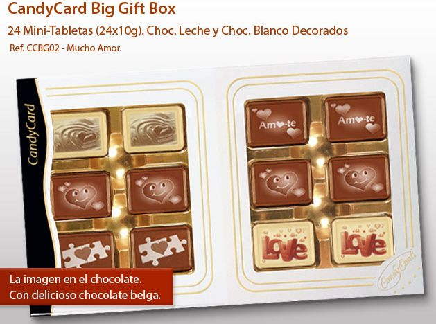 ¿Has visto nuestra Candycard? ¡Son las tabletas con imágenes impresas directamente sobre el chocolate! ¡Sorpresa alguien especial con un chocolate de absolutamente personalizada!