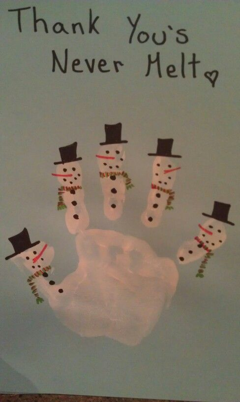 Handprint Winter Craft - a thank you card