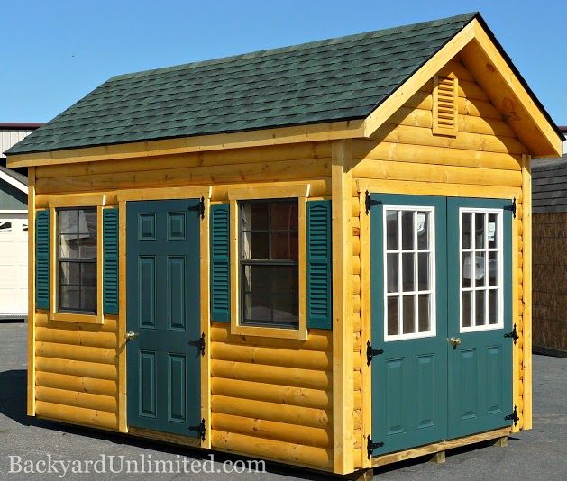 8'x12' Garden Shed with Log Siding, Vinyl Shutters, Painted Fiberglass Doors with Door Knobs, 11-Lite Double Doors, and Gable Vents http://www.backyardunlimited.com/sheds/garden-sheds