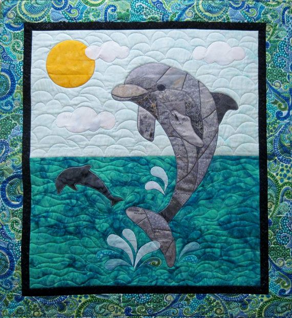 I designed this pattern in 2014. This pattern includes instructions to make the Dolphin wall hanging shown, measuring 36 x 40. The technique used is fusible applique and a satin stitch. You could also use raw edge applique, if you prefer. A full size drawing of the dolphin is included. No enlarging or piecing together of pages necessary! Knowledge of basic quilt construction is required. However the pattern provides ample instruction on the applique technique used. These quilts are fun to…