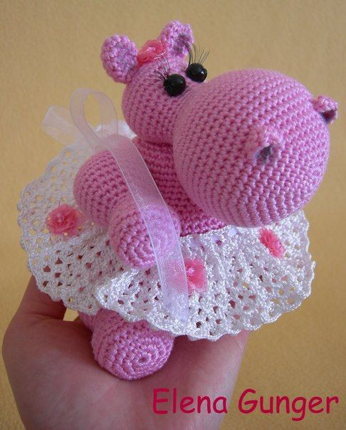 Hippo in a tutu - pattern at this link is in Russian and without translation. Appeared in Quick & Easy Crochet Magazine but I haven't found it yet.