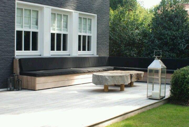 #strakke #tuin #modern #clean #sober #garden #terrace #terras #achtertuin #backyard #lounge #loungebank #simple #bank #tuinbank <3 #Fonteyn