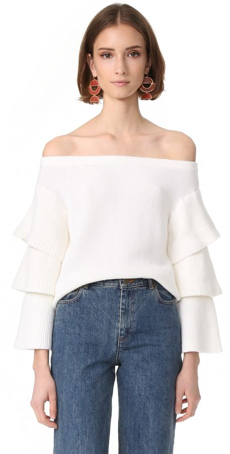 endless rose Off Shoulder Tiered Sleeve Top
