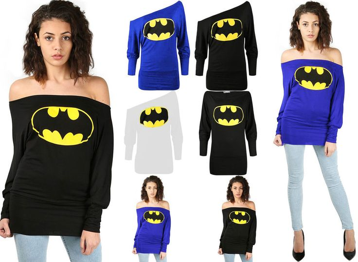 Womens Ladies Superman Batman Bardot Full Sleeve Batwing Off The Shoulder Top #My1stChoise #OffShoulderBatwing #Party