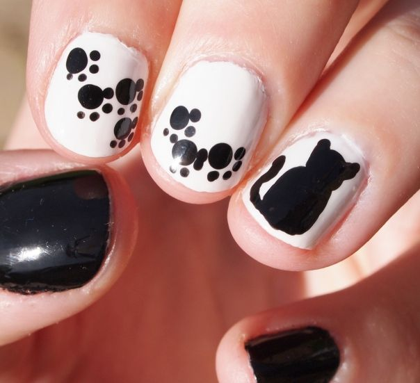 silhouette cat nail art