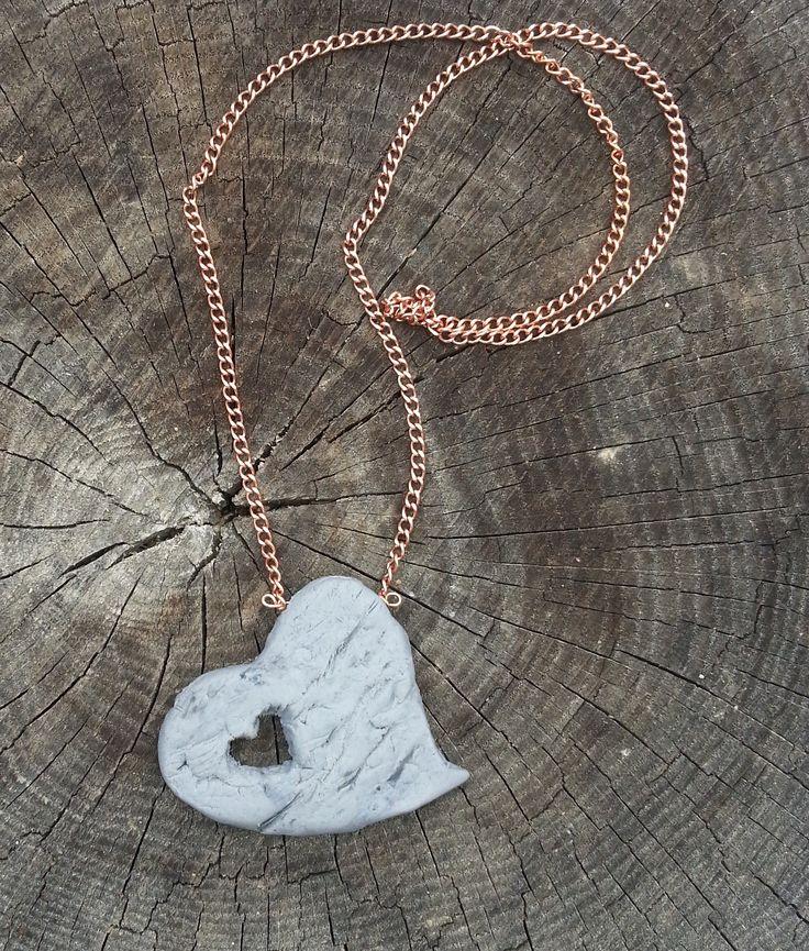 Rock Heart Necklace. Mixed medium. OOAK.