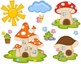 Cute Fairy Tail Mushroom Houses Clip Art, Sun, Cloud, Flowers, Butterfly Digital Clipart - Instant Download