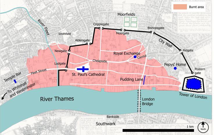 Great fire of london map - Samuel Pepys - Simple English Wikipedia, the free encyclopedia