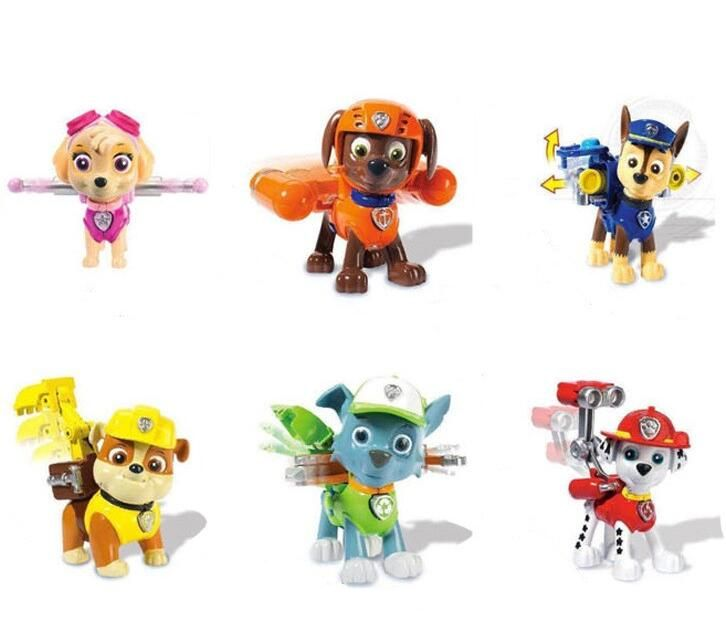 6pcs/set  Canine Patrol Dog Toys Russian Anime Doll Action Figures Car Patrol Puppy Toy Patrulla Canina Juguetes Gift for Child