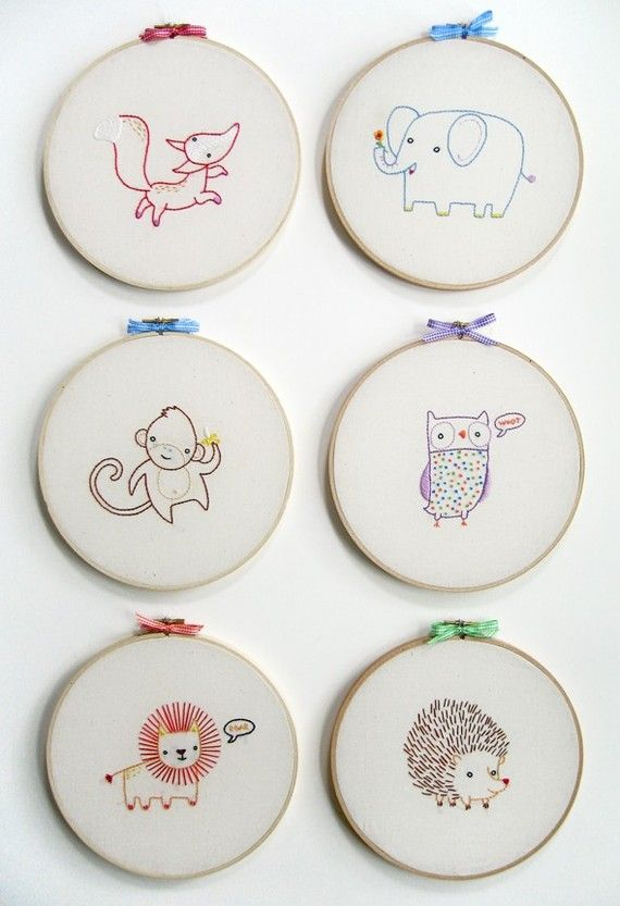 KIT embroidery owl wall art