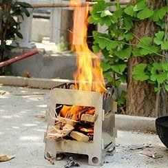 photo Anself portable léger Poêle à bois Stove Réchaud à boisen acier inoxydable pliant Pocket alcool Cuisinière de BBQ extérieur Camping Randonnée