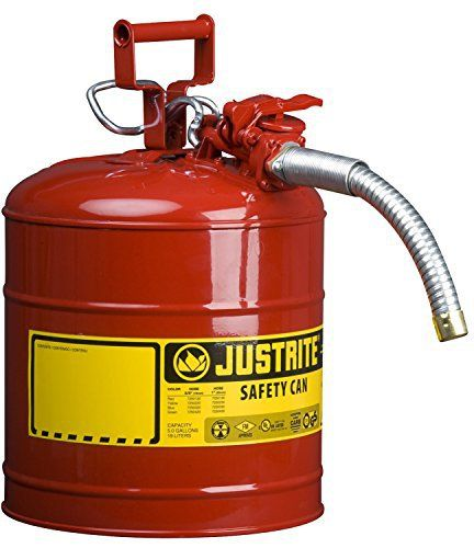 """Product review for Justrite 7250130 Galvanized Steel, AccuFlow Type II Red Safety Can with 1"""" Flexible Spout, Large ID zone, Meets OSHA & NFPA For Handling Hazardous liquids. 5 Gallon (19L) Size.. Durable galvanized steel Type II AccuFlow safety cans offer the most convenient, safest way to store and dispense flammable liquids. Built to meet OSHA and NFPA 30, they have been independently fire tested and approved by FM, and UL. Flexible metal hose is 9"""" x 1"""" (229 x 25)"""