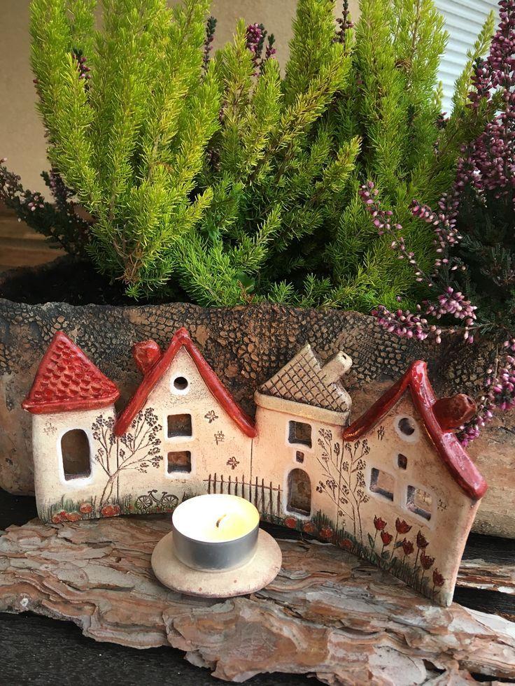 Keramik + Häuser-Kerzenständer + Hand + modelliert + original + mit + vielen + Details, Länge …