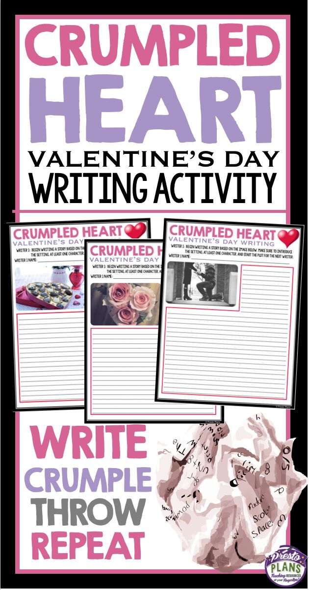 VALENTINE'S DAY WRITING ACTIVITY CRUMPLED PUMPKIN: This fun collaborate Valentine's Day writing activity is sure to get even your most reluctant writers putting pencil to paper. After the activity, students will have an original Valentine's Day inspired narrative!The crumpled hearts writing method is a fun and interactive way to teach your students how to write collaboratively. I can guarantee this will be a lesson your students will not forget!