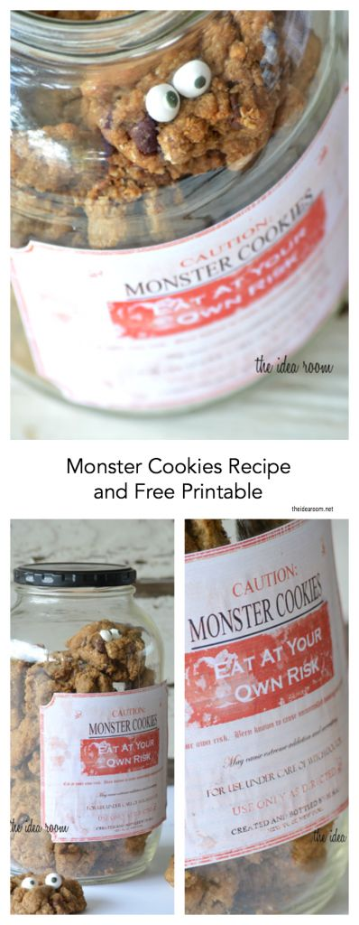 Monster Cookie Recipe for Halloween with Free Printable Jar Labels. A fun way to serve up some Halloween Dessert and a delicious Cookie Recipe too!