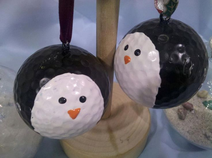 Penguin golf ball ornaments. $2.00, via Etsy.