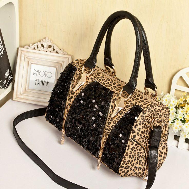 Sexy leopard women leather handbag big bag female large tote shoulder bag ladies purses and handbagsshoulder bags