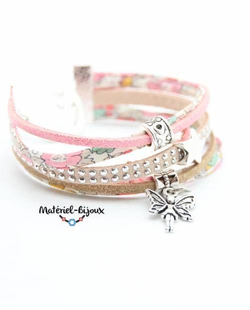 kit création d'un bijou pour adulte : bracelet en liberty et suédine en mode DIY. Kit complet : fournitures et tuto vidéo