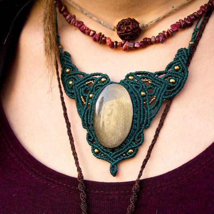 """macrame necklace with Mexican Obsidian. #macrame #makrame #macramejewelry #macramenecklace #goa #psytrance #schmuck #schmuckstück #jewelry #jewellery…"""