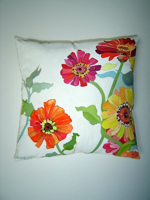 Summer Zinnias Hand Painted Pillow 12X12 Cottage Garden Charming Floral on White Home Decor Accent Pillow