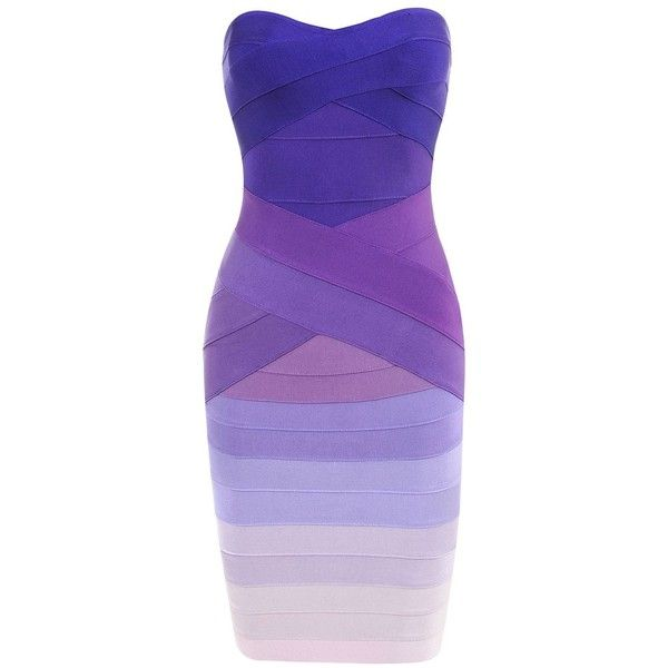 'Stacie' Purple Gradient Strapless Bandage Dress ❤ liked on Polyvore featuring dresses, purple cocktail dress, strapless dress, purple strapless dress, strapless cocktail dress and purple bandage dress