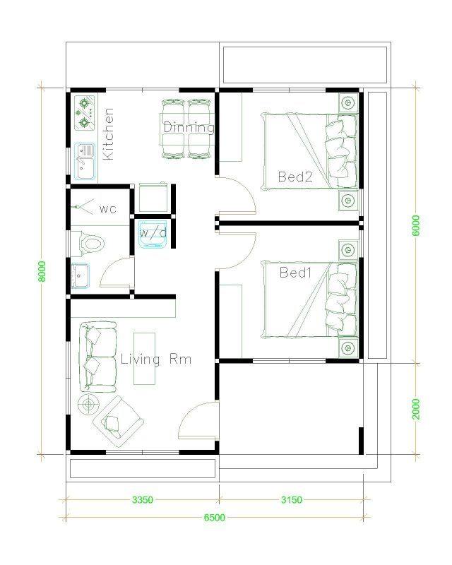 House Plans 6 5x8 With 2 Bedrooms Shed Roof In 2020 Small House Plans Small House Design Home Design Plans
