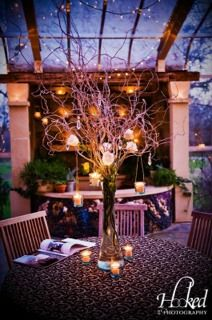 Centerpieces of tall curly willow with roses in tall vase with hanging candles and votives surrounding.