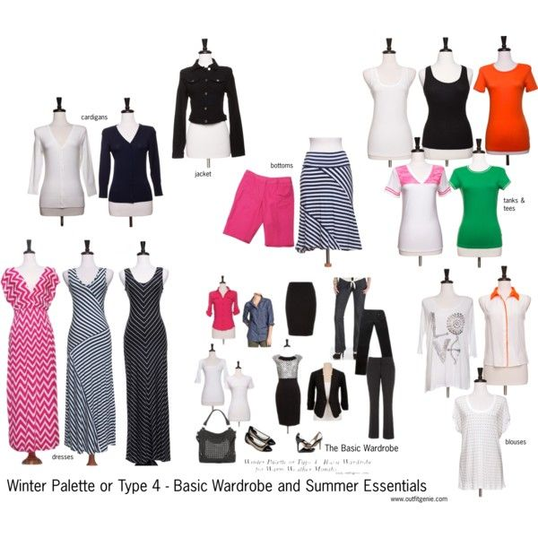 """""""Winter Palette or Type 4 - Basic Wardrobe + Summer Essentials"""" by sarah-dee-outfitgenie on Polyvore"""
