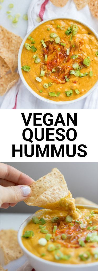 Vegan Queso Hummus: An addictive cheesy dip that's free from dairy and gluten! Made from healthy, whole food ingredients, and it's the perfect football food! || http://fooduzzi.com recipe
