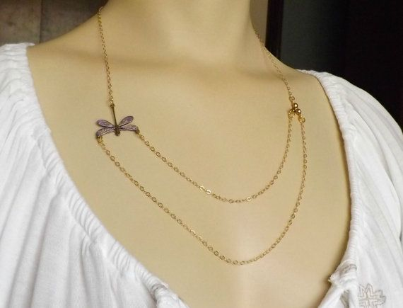 Dragonfly Necklace w/ Gold Filled Chain by RenesJewelryArt. Click here to visit my Etsy shop: https://www.etsy.com/shop/RenesJewelryArt?ref=hdr_shop_menu